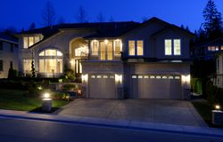 Large House at Night. Street View of a New large American house Royalty Free Stock Image