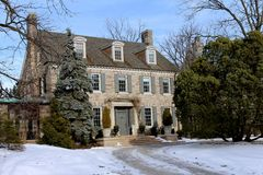 Large house in winter stock photos