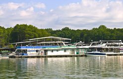 Large Houseboats at the Docks stock photos