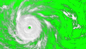 Large Hurricane on the green screen, CG animation. Computer-generated footage on the meteorological theme. All texture maps were created in graphic editor stock video footage