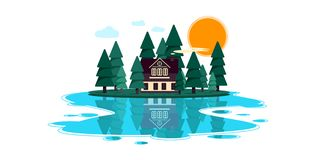 Large hut in the forest by the river royalty free illustration
