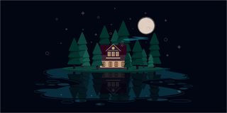 Large hut in the woods by the river at night stock illustration