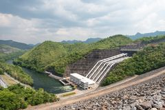 Large hydro electric dam in Thailand Royalty Free Stock Image