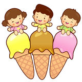 Large Ice Cream Brother and Sister Mascot. Home an Stock Images