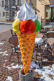 Large ice cream cone. As an advertisement for ice cream parlor in winter Royalty Free Stock Photo