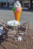 Large ice cream cone. As an advertisement for ice cream parlor in winter Stock Photo