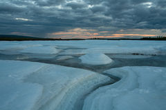 Large ice field during melting. Royalty Free Stock Images