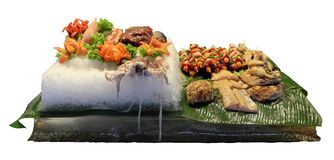 A large ice floe with fresh meat, fish, vegetables and octopus, cooked food, isolated, white background. Large ice floe with fresh meat, fish, vegetables and stock images