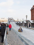 A large ice slide in Moscow Royalty Free Stock Photo