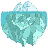 Large iceberg floating in water Stock Photo