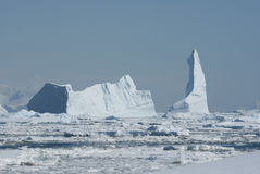 A large iceberg in the Strait. Clogged with ice Royalty Free Stock Image