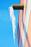 Large icicle hanging from the roof Royalty Free Stock Image