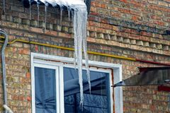 Large icicle from the roof above the brick wall and the window on the building. Large transparent icicle from the roof above the brick wall and the window on the Royalty Free Stock Photos