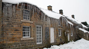 Icicles on a Country Cottage Stock Image