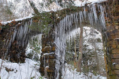 Icicles on Stone Archway, Chatsworth Royalty Free Stock Photography