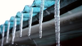 Large icicles outside stock footage
