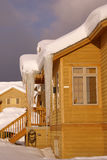 Large icicles on Townhouses after heavy snowstorm Stock Images