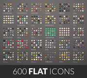 Large icons set, 600 vector pictogram of flat colored with shadows Stock Photo