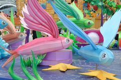 Large imaginary flying fish models on display. A photo taken on some big colorful imaginary flying fish models on display stock images