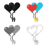Large inable balls of the bride and groom for a wedding in the form of hearts.Wedding single icon in cartoon style. Vector symbol stock web illustration Royalty Free Stock Images