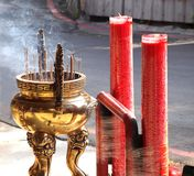 Large Incense Burner and Candles Royalty Free Stock Image