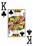 Large index playing card king of clubs. American deck vector illustration