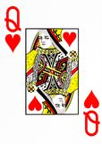 Large index playing card queen of hearts royalty free stock photo