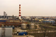 Large industrial area with factory buildings and pipes stock photos