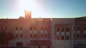 Large industrial building aerial footage stock video footage