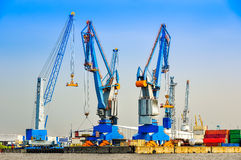 Large industrial cargo cranes in the harbor Royalty Free Stock Image