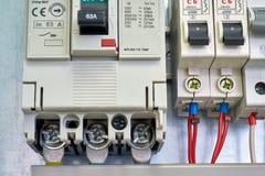 Large industrial circuit breaker and modular electrical circuit breakers stock photos