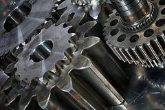Gears in a titanium and steel concept Royalty Free Stock Photo