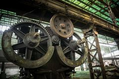 Large industrial hall with cogs Stock Image