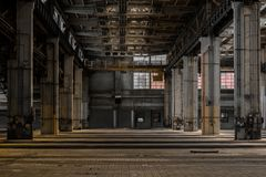 Large industrial hall of a repair station Royalty Free Stock Photos