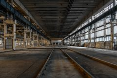 Large industrial hall of a repair station Stock Images