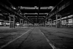 Large industrial hall of a repair station Royalty Free Stock Photo