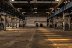 Large industrial hall of a repair station Stock Photo