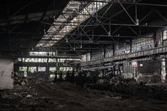 Large industrial hall under construction Royalty Free Stock Photo