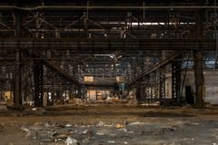 Large industrial hall under construction Stock Image
