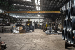 Large industrial interior with aluminium coils Royalty Free Stock Photography