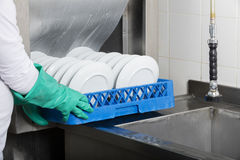 Large industrial kitchen dishwasher royalty free stock photo
