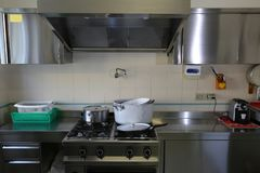Industrial kitchen with stainless steel cookers and suction hood Royalty Free Stock Photos