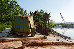 Large industrial machine on the shore Royalty Free Stock Photo