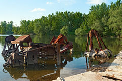 Large industrial machine on the shore Royalty Free Stock Photos
