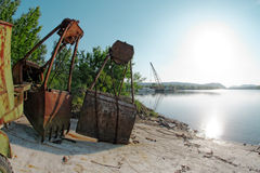 Large industrial machine on the shore Stock Images