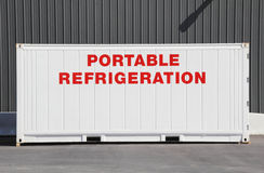 Large Industrial Portable Refrigeration System. Close on a large industrial sized metal container that provides portable refrigeration Royalty Free Stock Photos