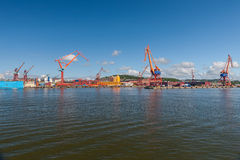 Large industrial shipping harbour in Gothenburg, Royalty Free Stock Images