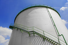Large industrial silo with blue sky Stock Image