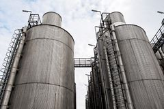 Large industrial silo outdoors Royalty Free Stock Photos