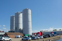 Industrial silo`s,  Goole, East Riding of Yorkshire. Large industrial silo`s in the heart of a dockside area in the town of Goole, East Riding of Yorkshire royalty free stock images
